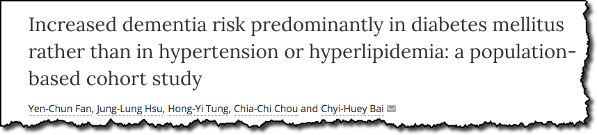 Increased dementia risk predominantly in diabetes mellitus rather than in hypertension or hyperlipidemia: a population-based cohort study