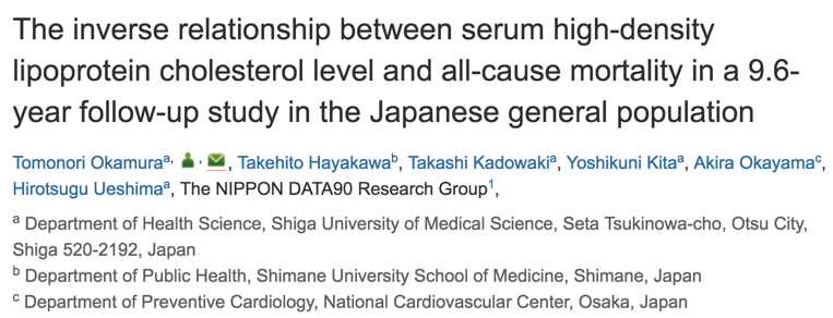 The inverse relationship between serum high-density lipoprotein cholesterol level and all-cause mortality in a 9.6-year follow-up study in the Japanese general population