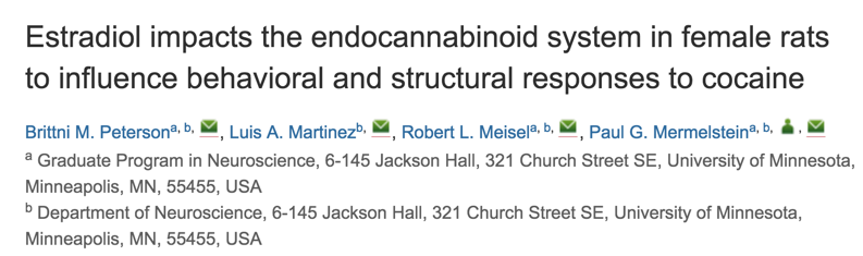 Estradiol impacts the endocannabinoid system in female rats to influence behavioral and structural responses to cocaine