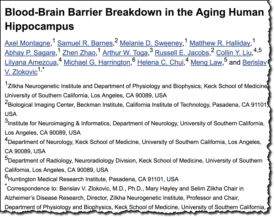 Blood-Brain Barrier Breakdown in the Aging Human Hippocampus