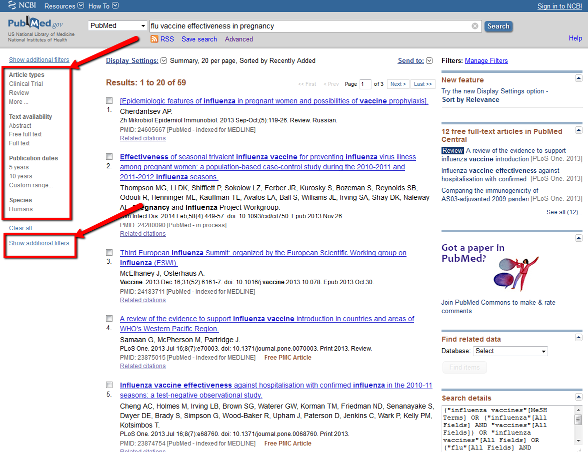 Pubmed filters image