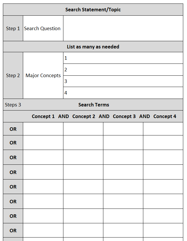 Search Strategy worksheet image