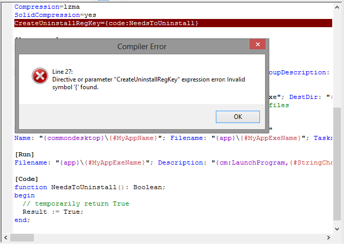 Screenshot of the code and error message