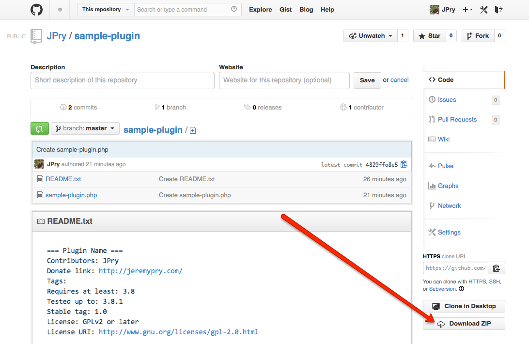 "Screenshot: The ""Download Zip"" button on GitHub"
