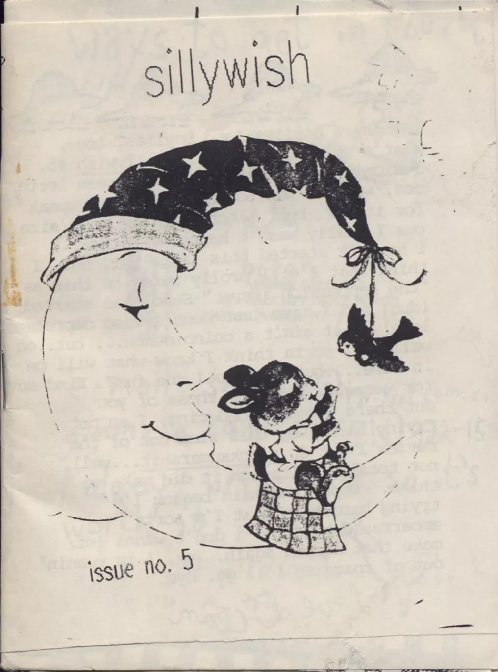 cover of Sillywish zine, issue 5: clip art moon wearing a sorcerer's or sleeping hat, the tip of which is holding a bird. The bird is interacting with a bunny, seated on a blanket on the bottom of the moon's crescent