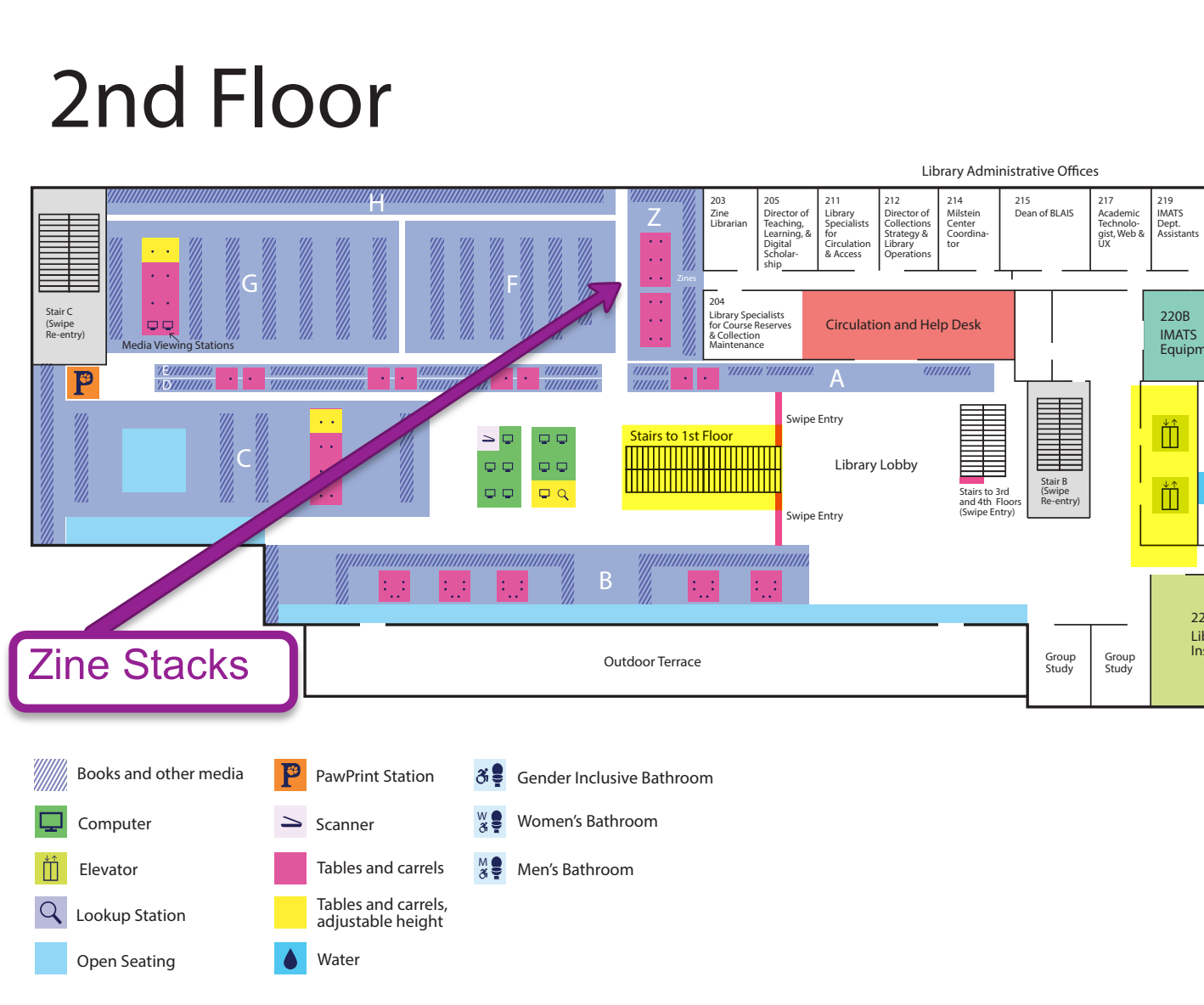 2nd floor map, pointing to the zine library
