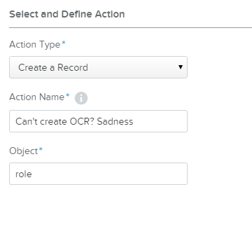 OCR action create record