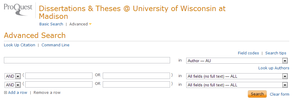 Screenshot of Proquest Dissertations and Theses interface