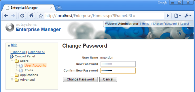Enterprise Manager - Change Password