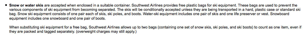 Southwests snowboard policy