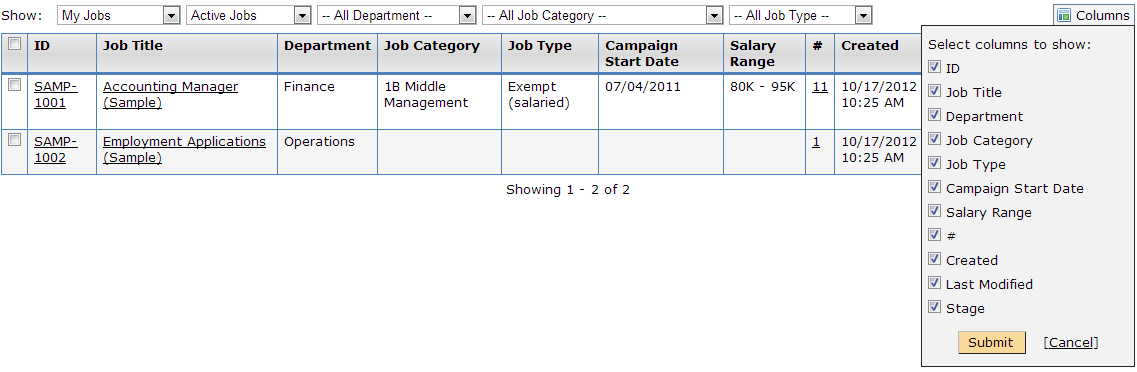 Displaying the menu for adding removing columns to the Job Listing Grid
