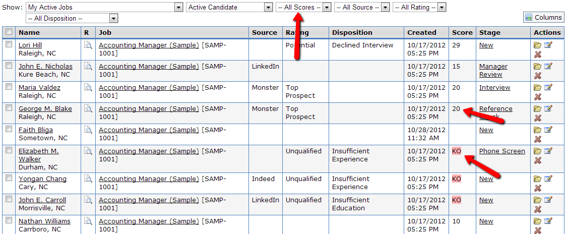 Filtering candidates based on scores