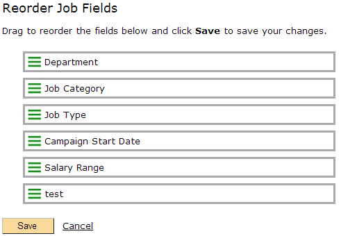 Reordering the Job Fields