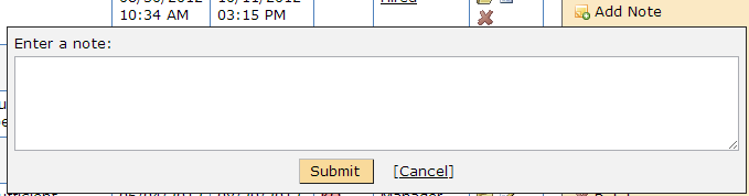 Text box that appears on Candidate Listing Grid when you click Add Note