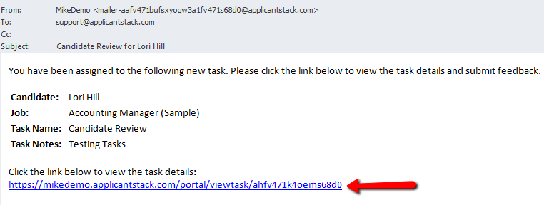 Task notification via email with the link to the task