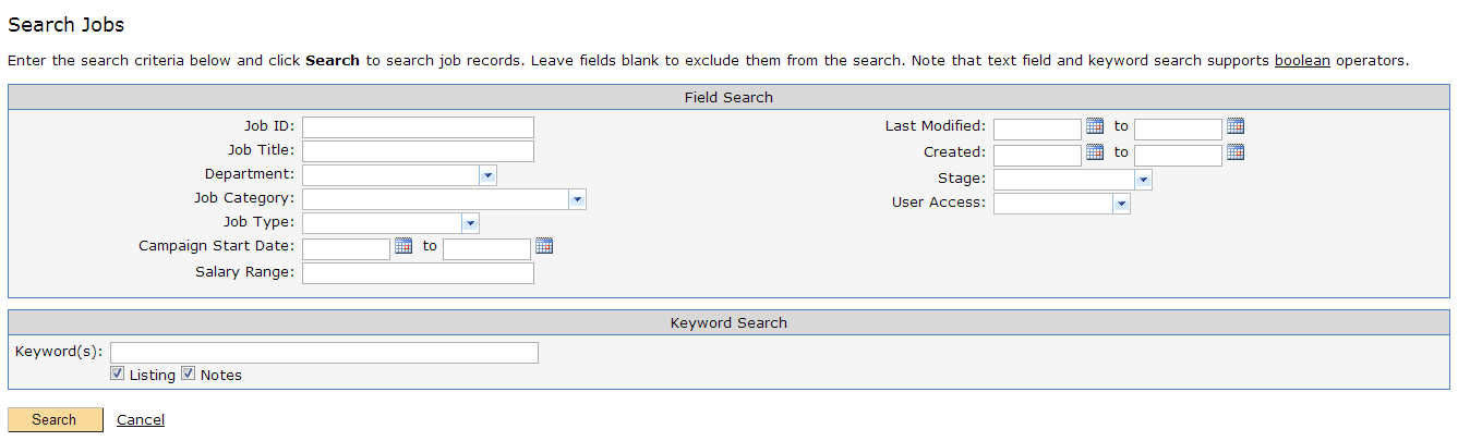 Search Jobs Options
