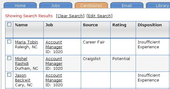Candidate Search Results