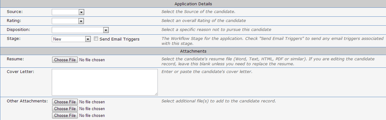 Another look at more options available from the Create Candidate Screen