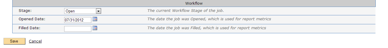 Workflow section in the Edit Job Screen
