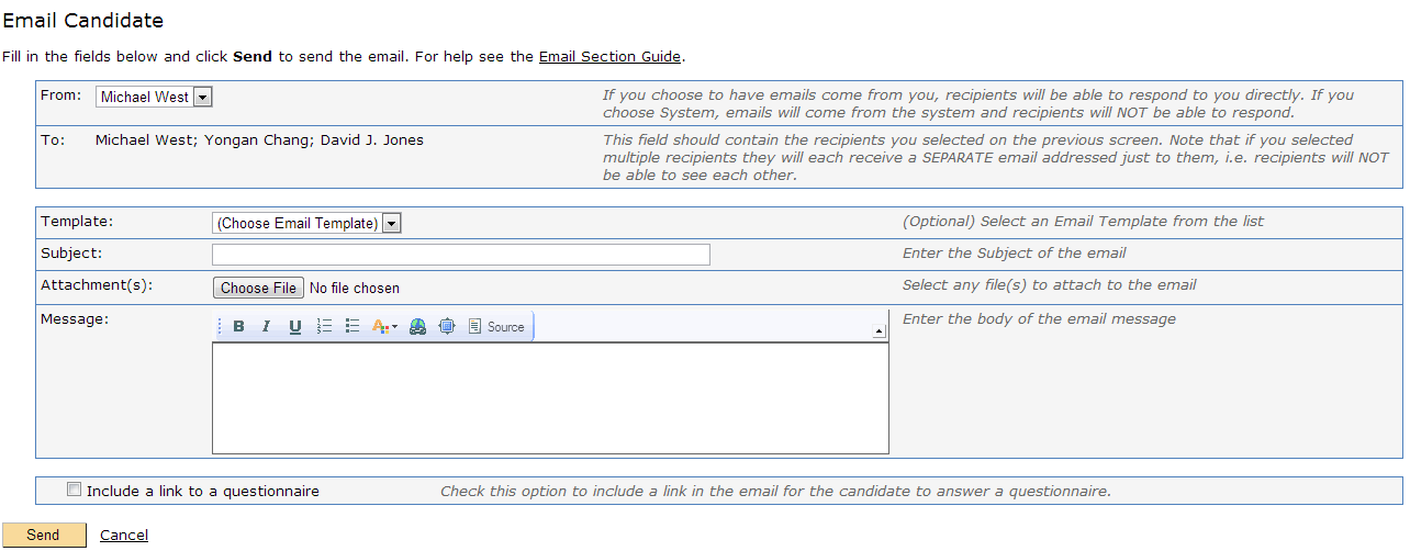 Email Candidate Screen