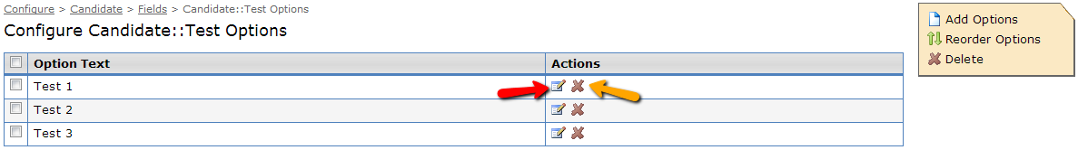Actions available while editing a picklist