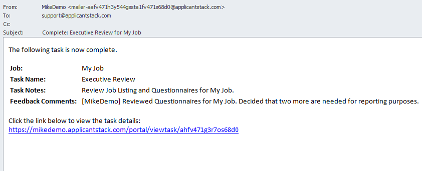 Email sent confirming that the assigned task has been completed