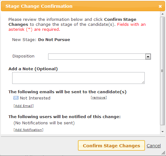Stage Change Dialog