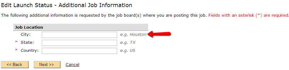 Additional Information required for correct categorization of your job on Indeed and SimplyHired.