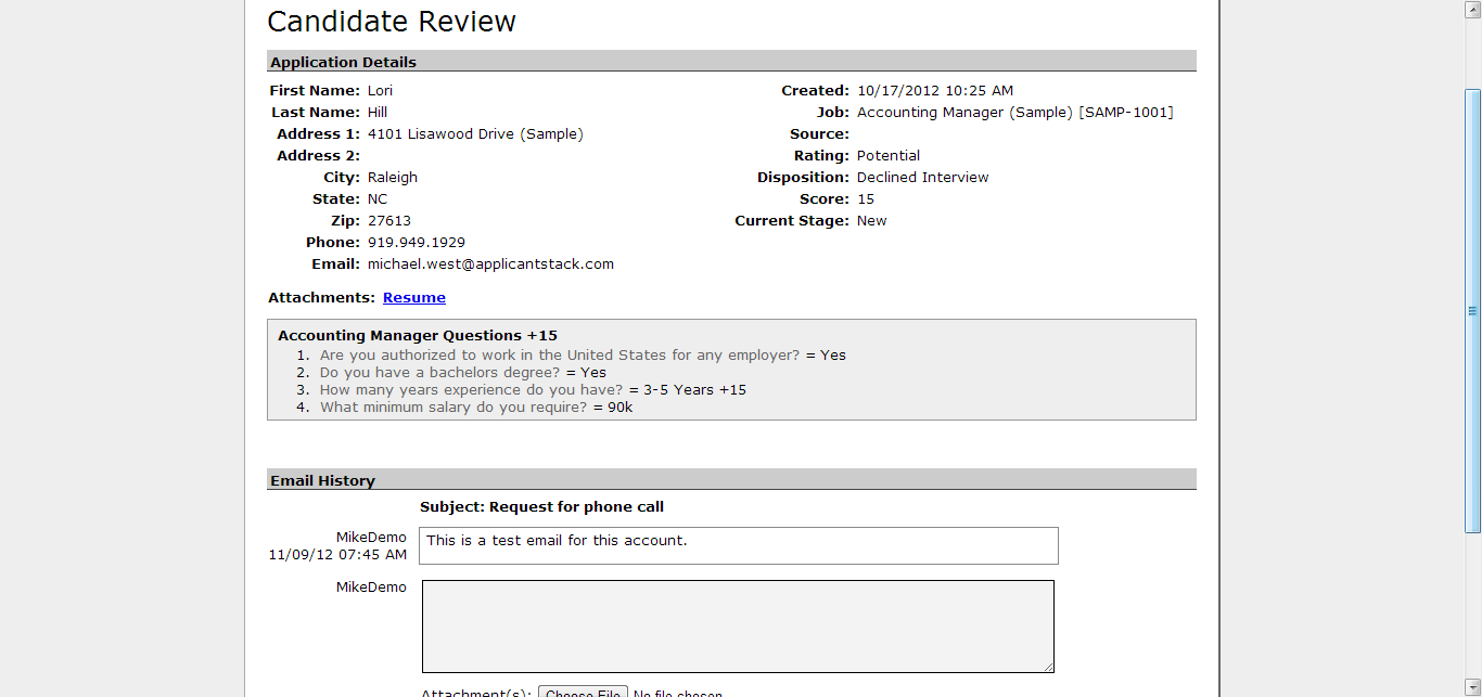 Candidate Review screen