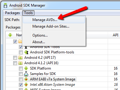 Choosing AVD option from Android SDK Manager menu