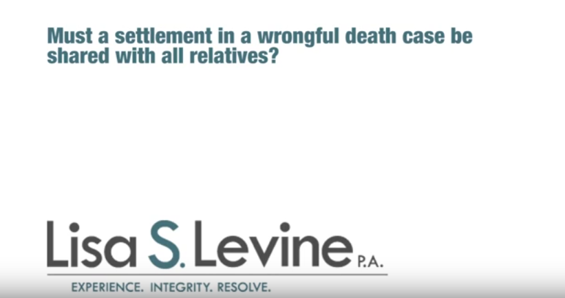 Must a settlement in a wrongful death case be shared with all relatives?