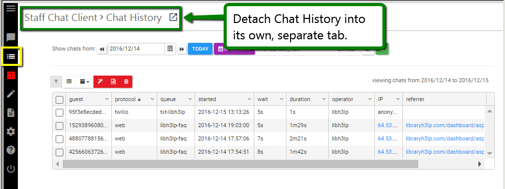 Detachable Chat History