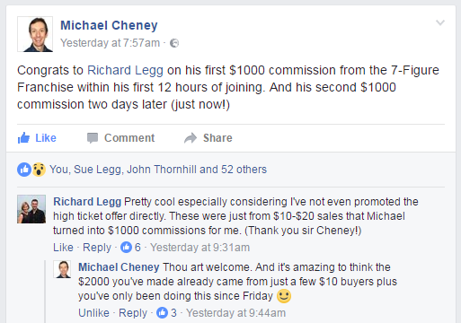 My second $1000 commission from Michael Cheney's 7 Figure Franchise