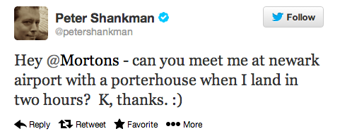 Peter Shankman Tweet for Mortons