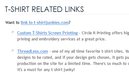T Shirt Links