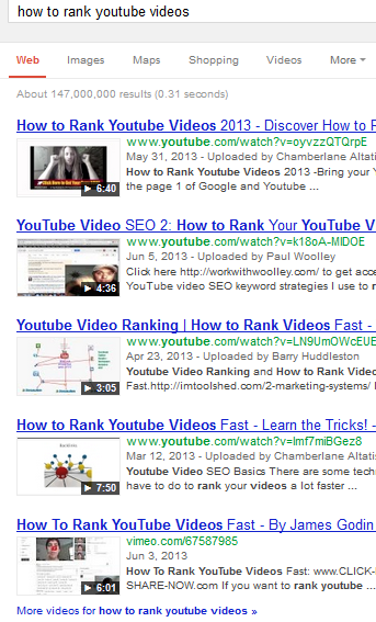 YouTube SERPs