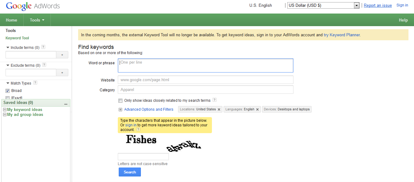 Goodbye AdWords Keyword Tool