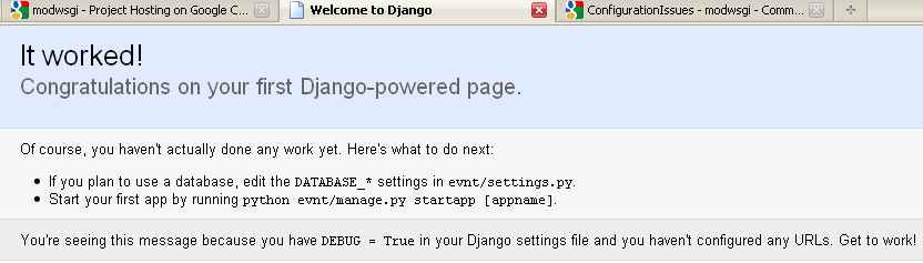 django new project screenshoot