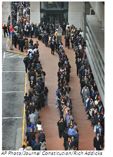 At the recession's peak in 2009, job seekers standing in line at a federal government job fair